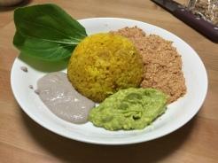"Spanish rice w/guac/taco ""meat""/sour cream. No oils. vegan"